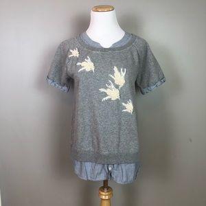 Anthro Floreat Beaded Flutter Bird Top Sweatshirt